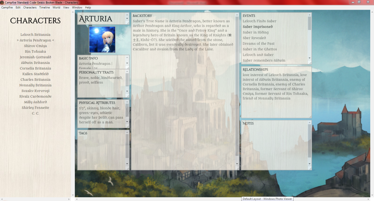 Example of character creation for fan fiction.