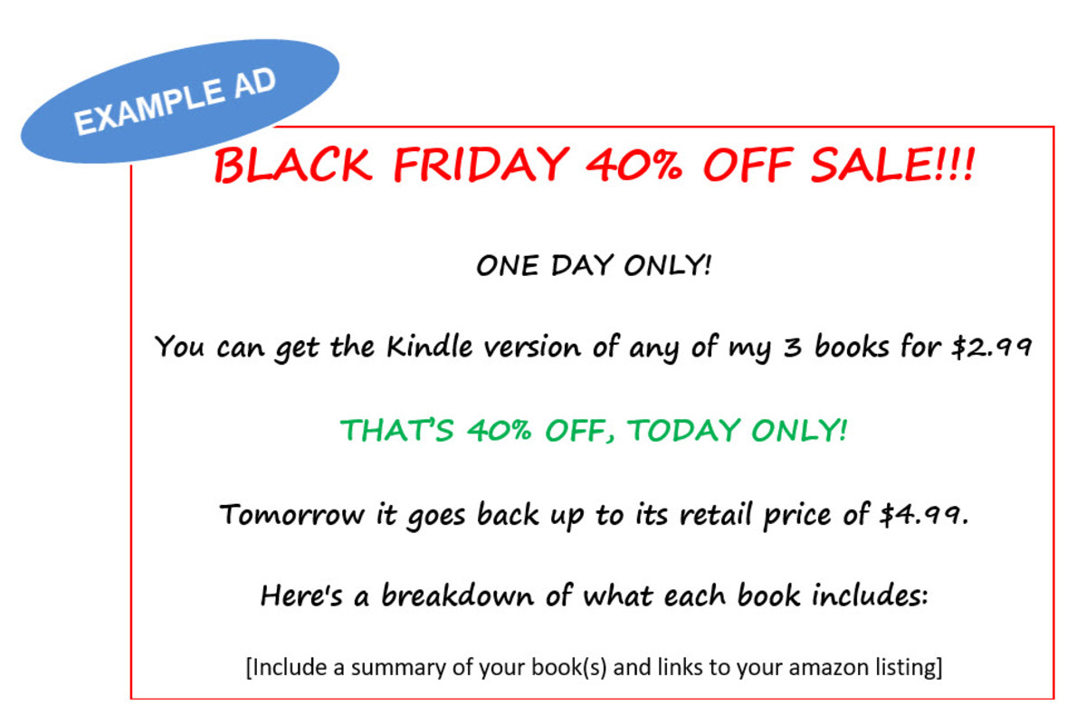 Kindle Countdown Deal Book Promotion Ad - Example