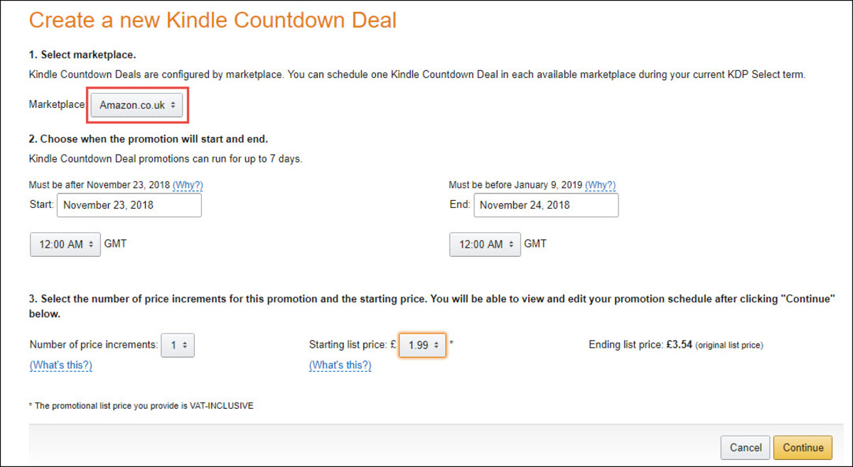 Kindle Countdown Deal - Repeat for Alternate Marketplace