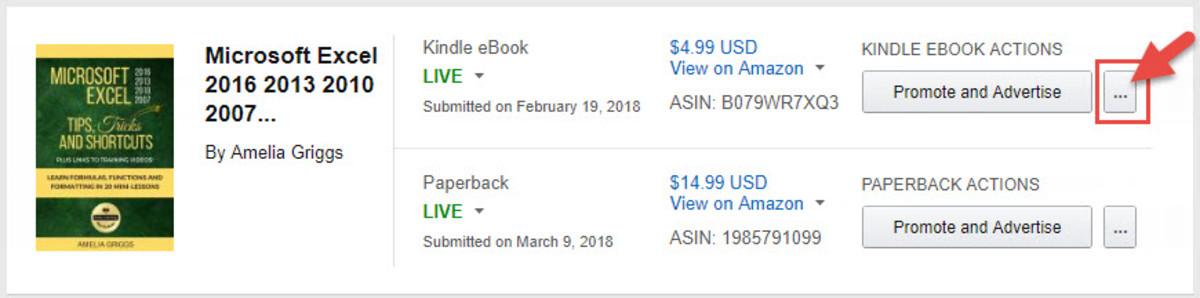 Kindle Direct Publishing KINDLE EBOOK ACTIONS menu
