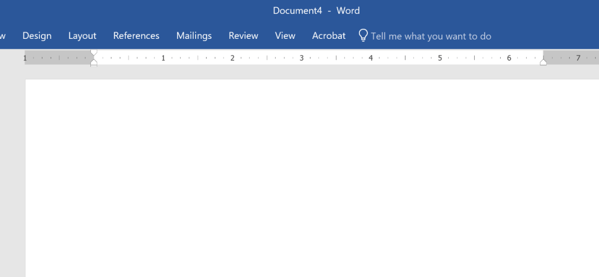 The illustration above depicts a Word document that does not have the developer tab enabled. To be able to use the Word developer tools this tab needs to be manually activated to be visible for use.