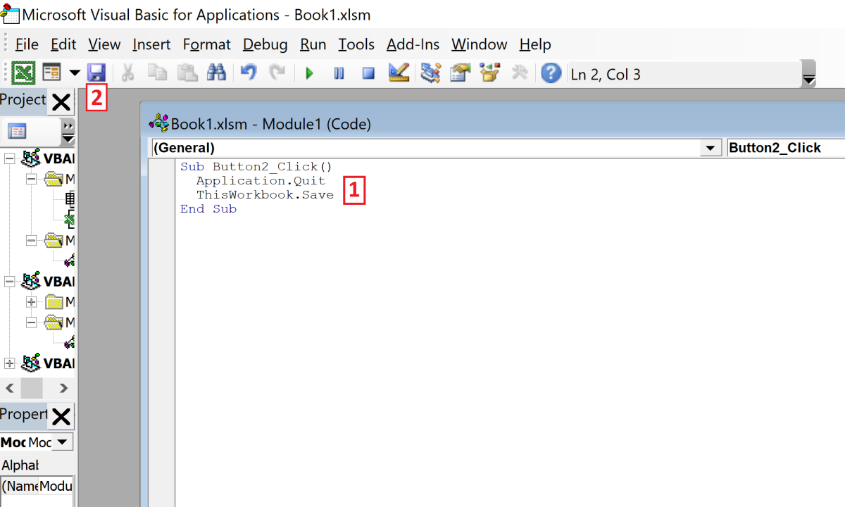 "The first line of code ""Sub Button2_Click()"" initates the task. Once the button is click the application Quits ""Application.Quit"" and the prompt is avoided because the workbook is saved ""ThisWorkbook.Save.""  Finally the module ends ""End Sub."""