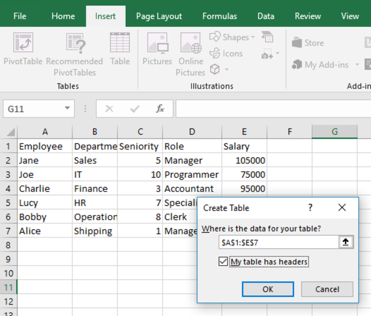 Create Excel Table