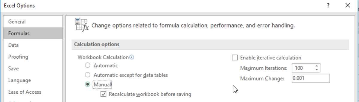 Formula Calculation Options