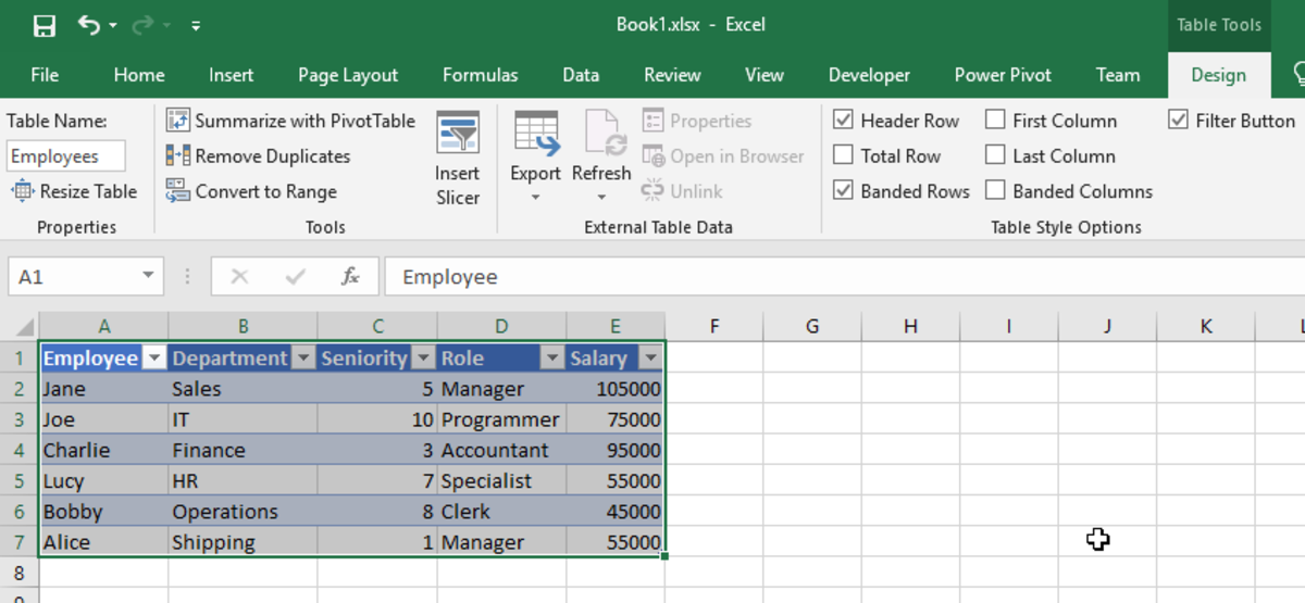 Excel Table Designer