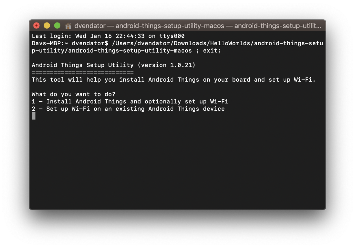 Android Things Setup Utility