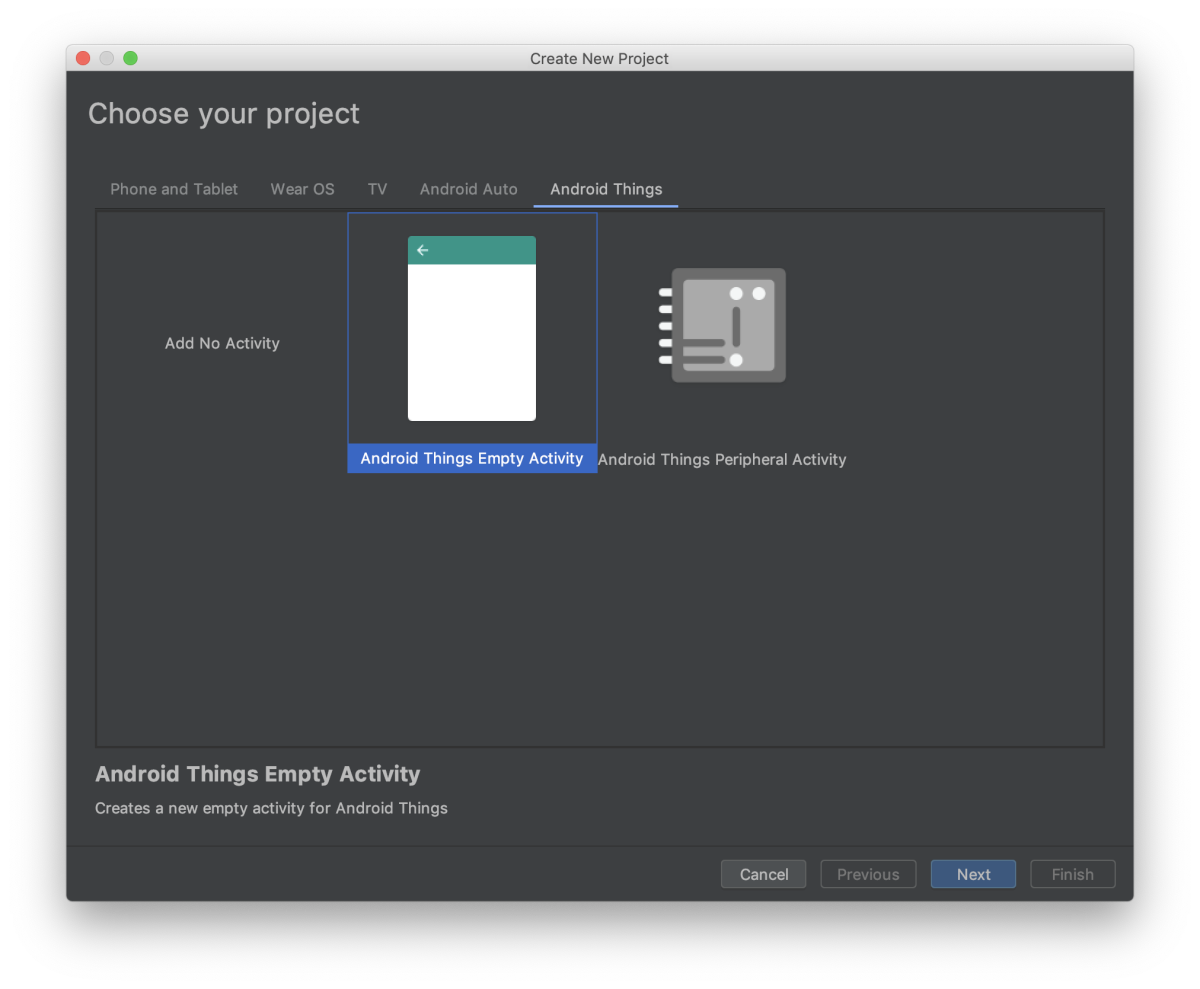 Android Studio –– Android things empty activity