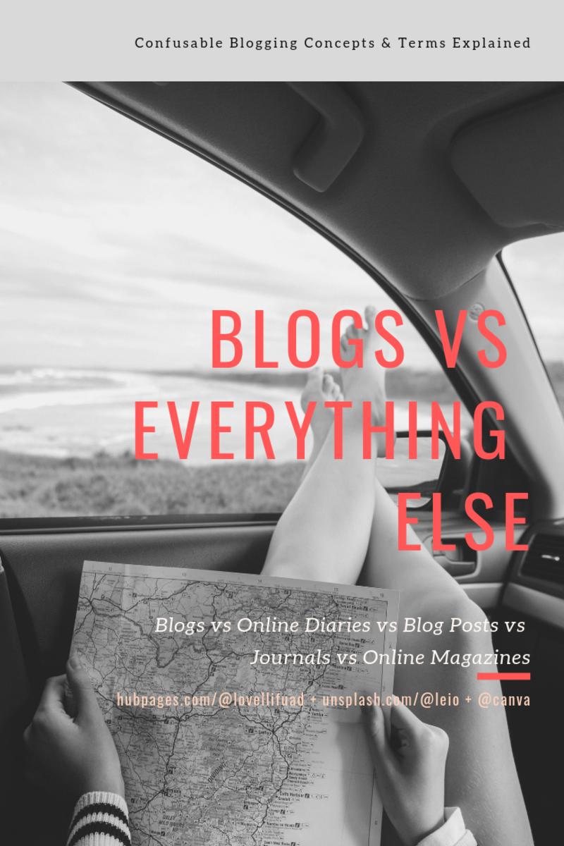 Blogs vs Online Diaries vs Blog Posts vs Journals vs Online Magazines