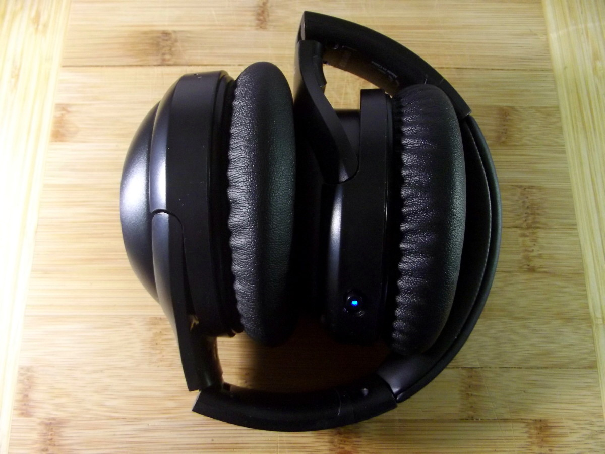 iTeknic active noise canceling headphones folded for storage