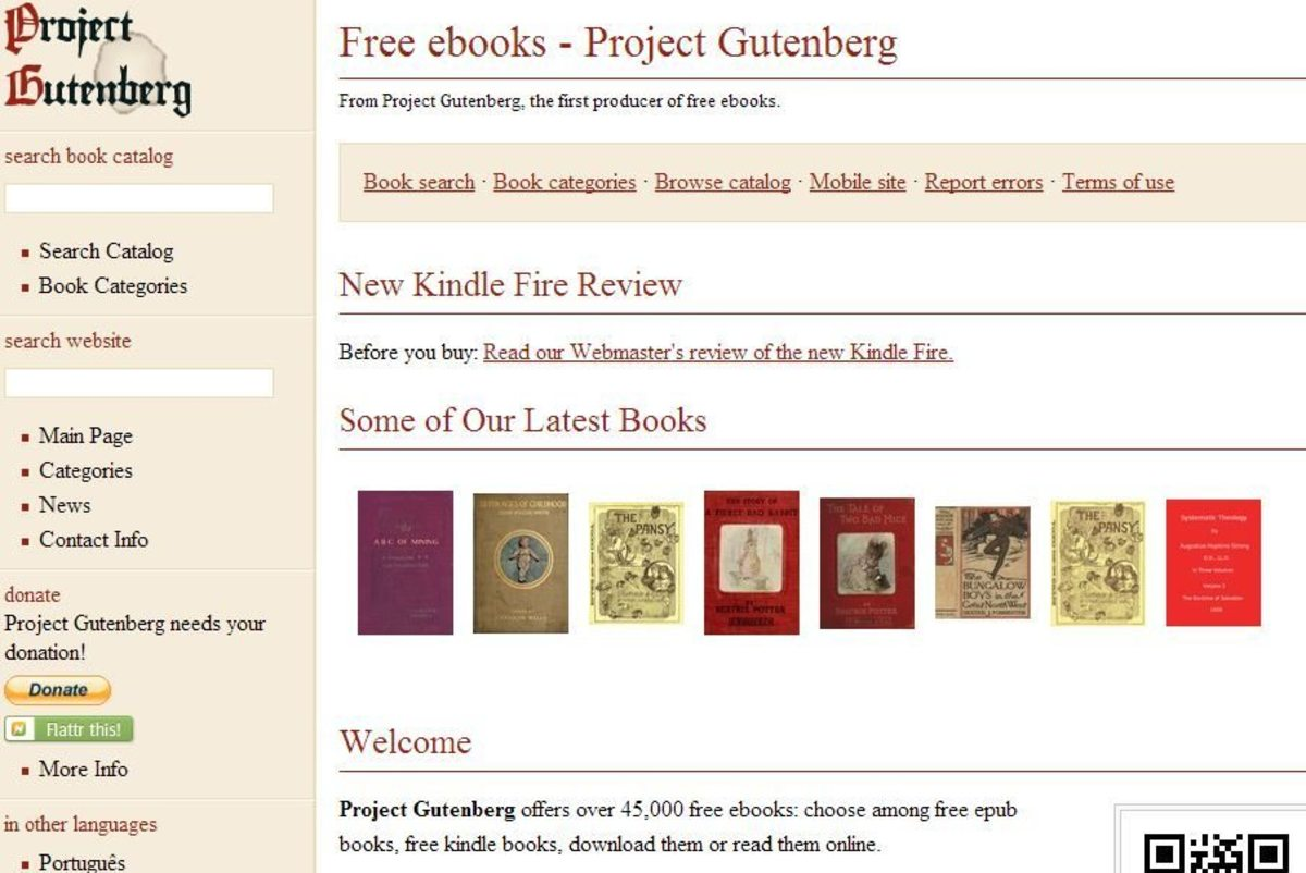 Project Gutenberg's homepage.