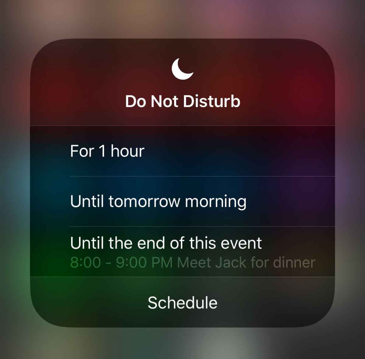 Press and hold the Do Not Disturb icon in Control Center for more options