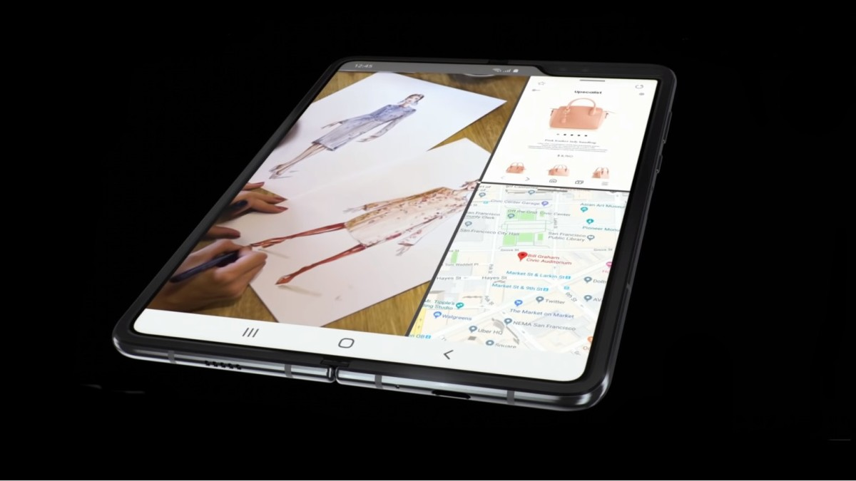 When unfolded, the Samsung Galaxy Fold's screen can be split into three parts to run three different apps at the same time.