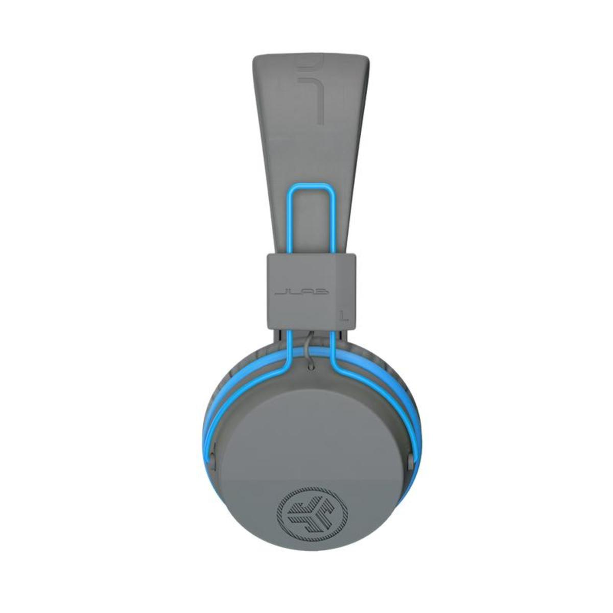 A side view of the JLab audio Bluetooth headphones.