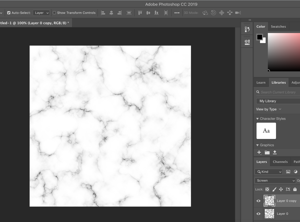 Final result of a white marble background with dark veins through it.