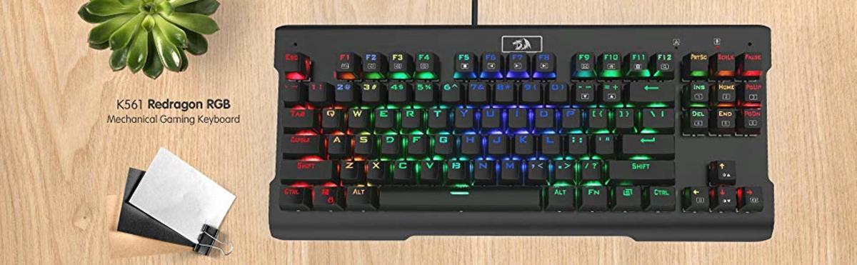 The RedDragon K561 VISNU Mechanical Keyboard on a desk.