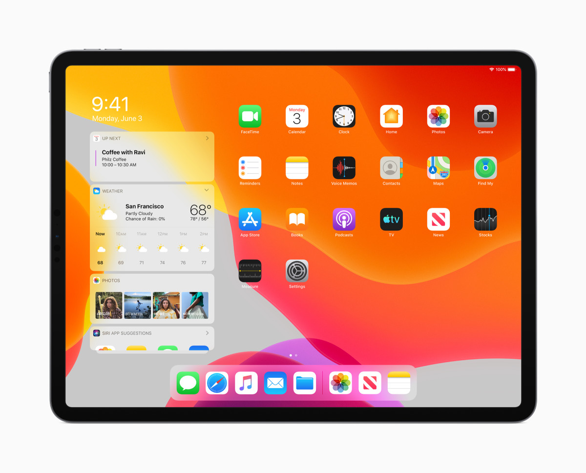 A look at the redesigned home screen on iPadOS