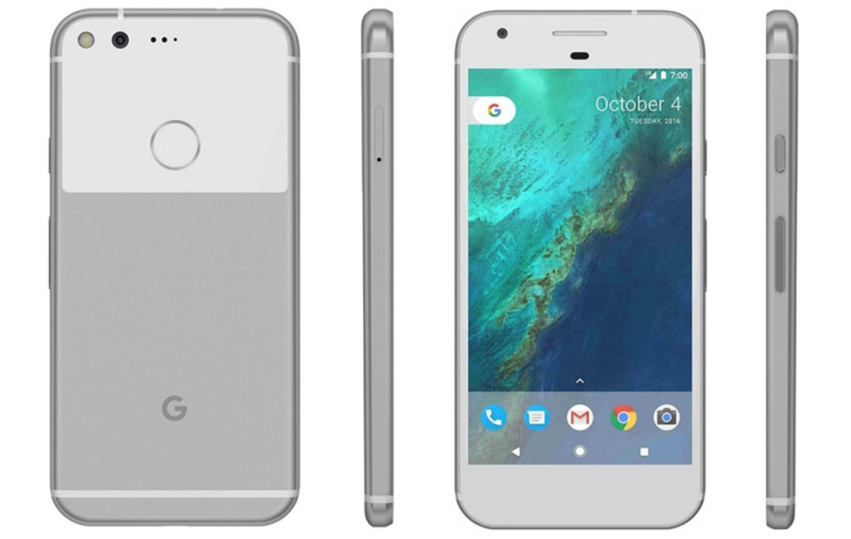 Front, back, and side views of the Google Pixel.