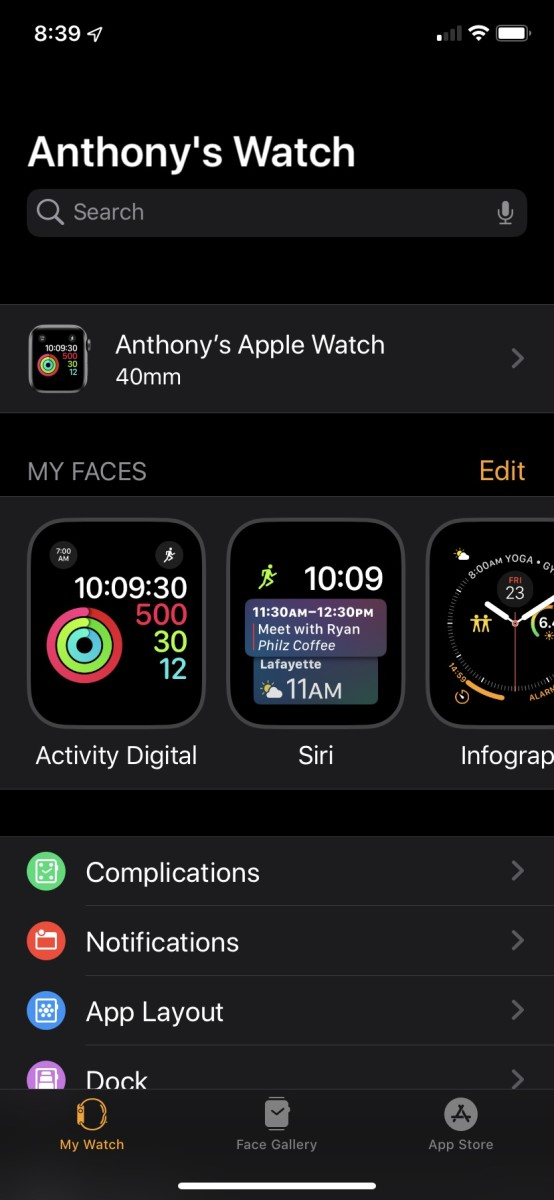Watch faces shown in the app