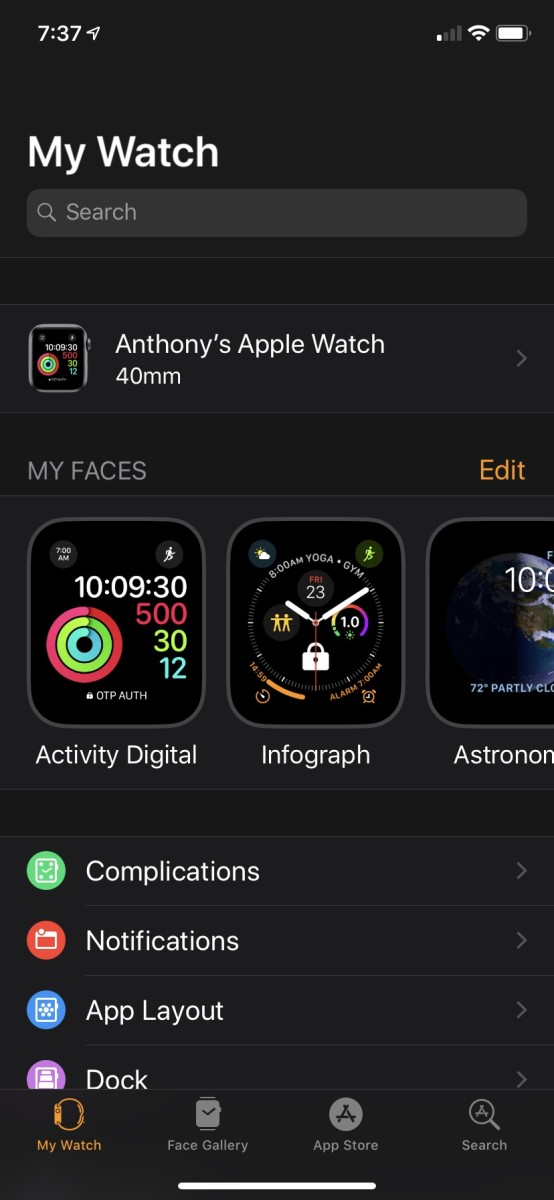 The Apple Watch app