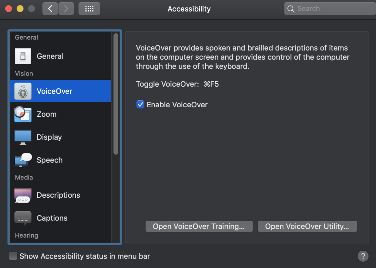 How to enable VoiceOver