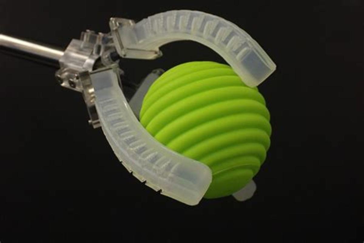 This soft robot is able to grab objects much like a human hand.