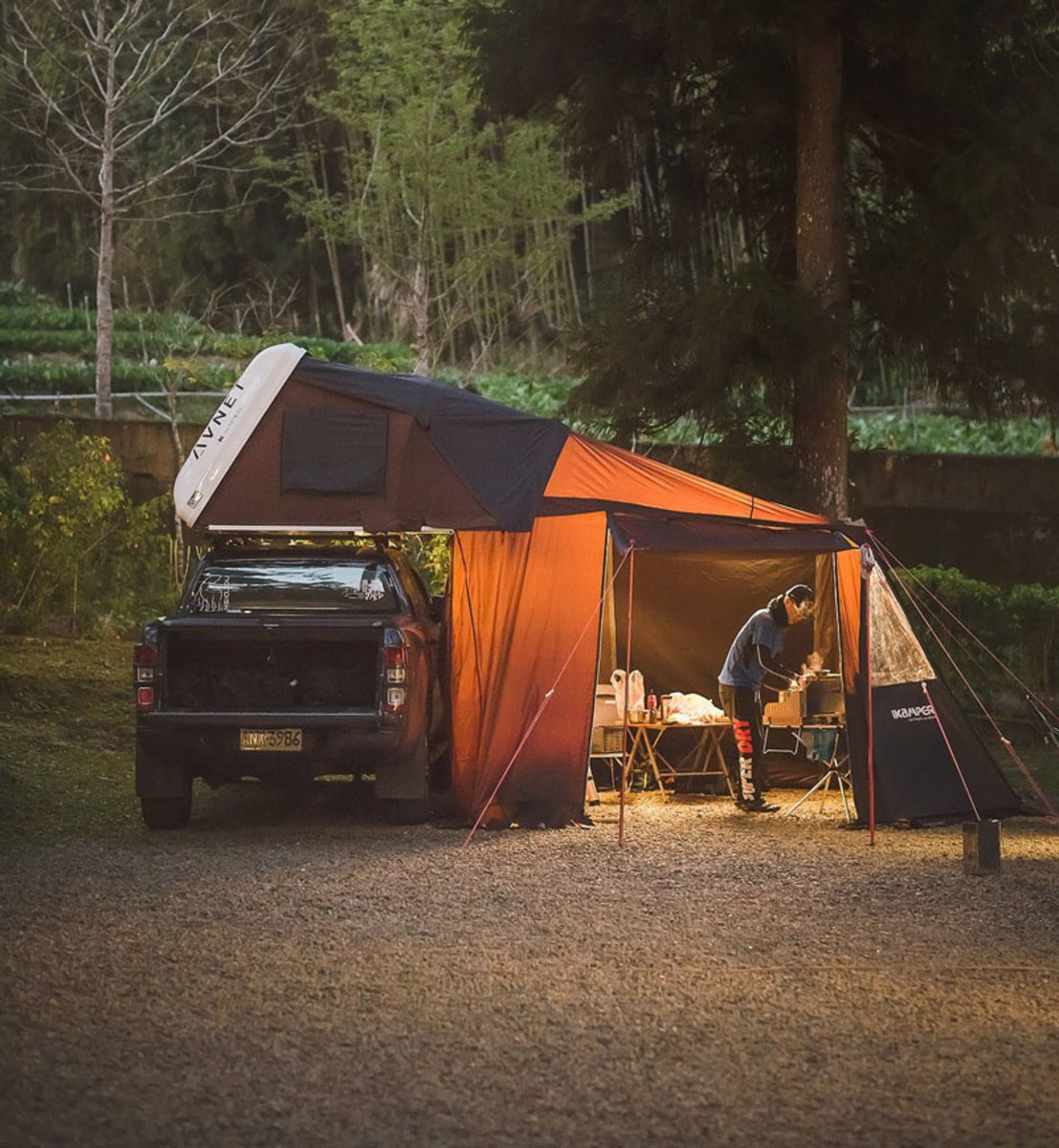 A tent which packs away into car roof box