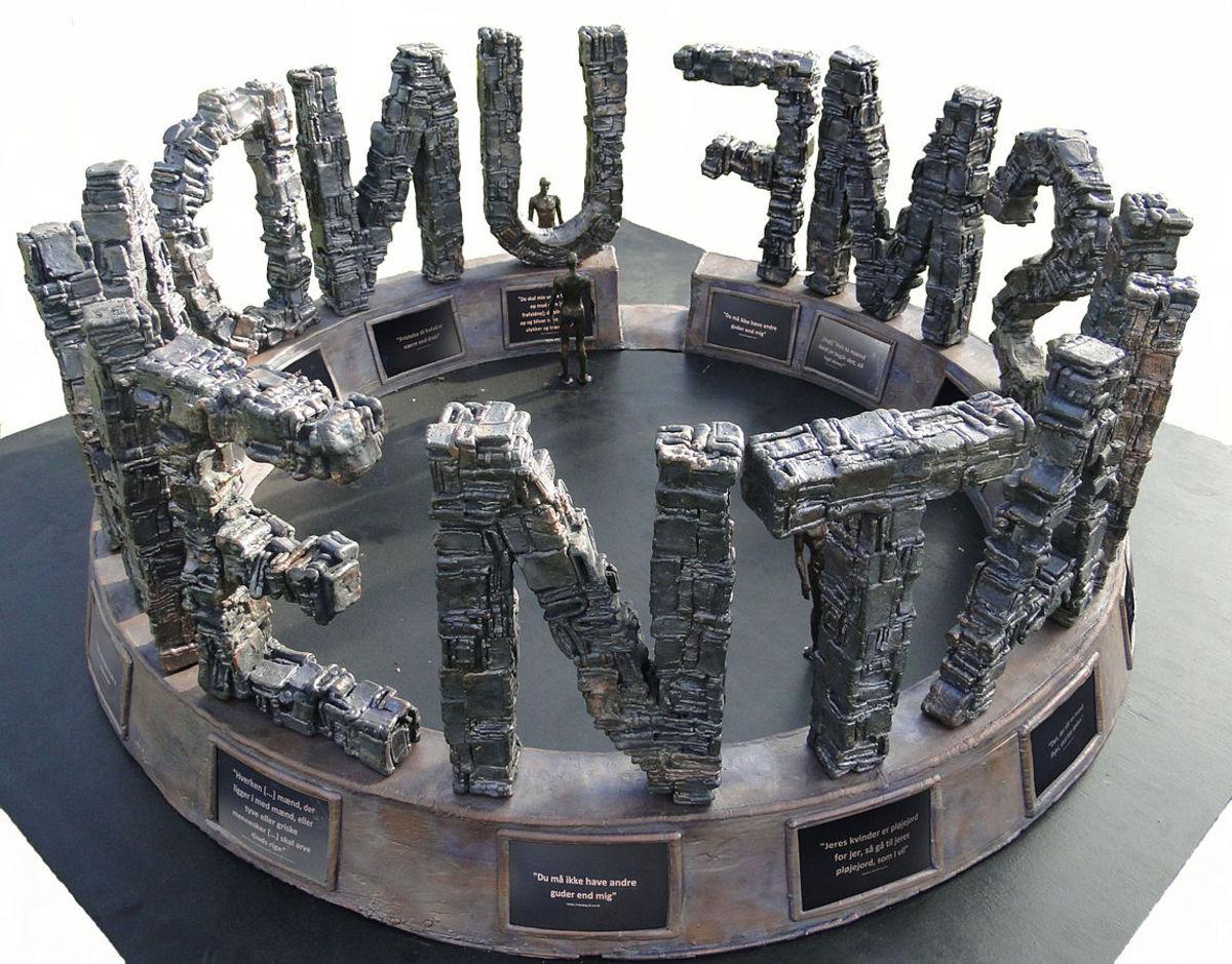 "Model of the sculpture ""Fundamentalism"" by Danish Artist Jens Galschiøt."