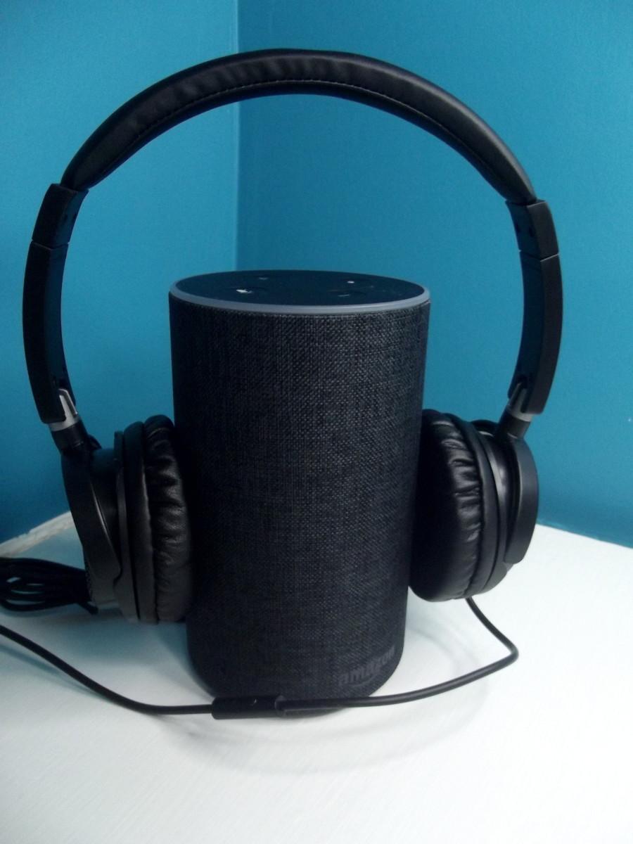 Vogek Lightweight Headphones connected to Amazon Echo.