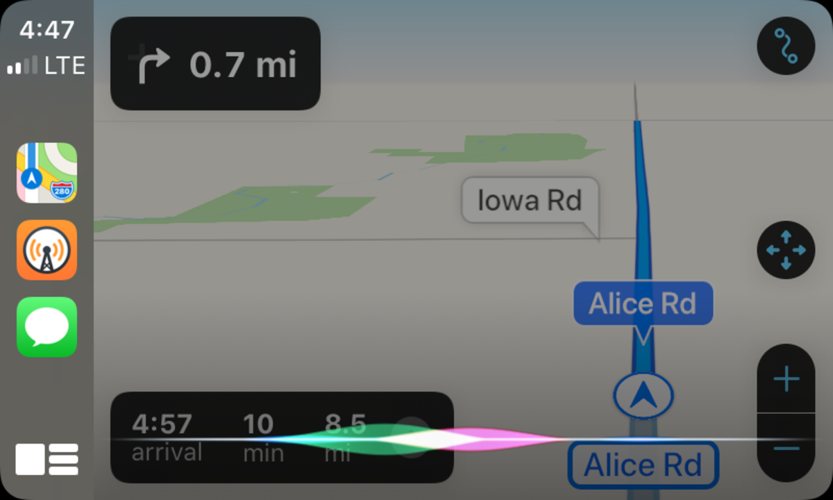 Siri's on-screen presence won't interrupt your CarPlay apps