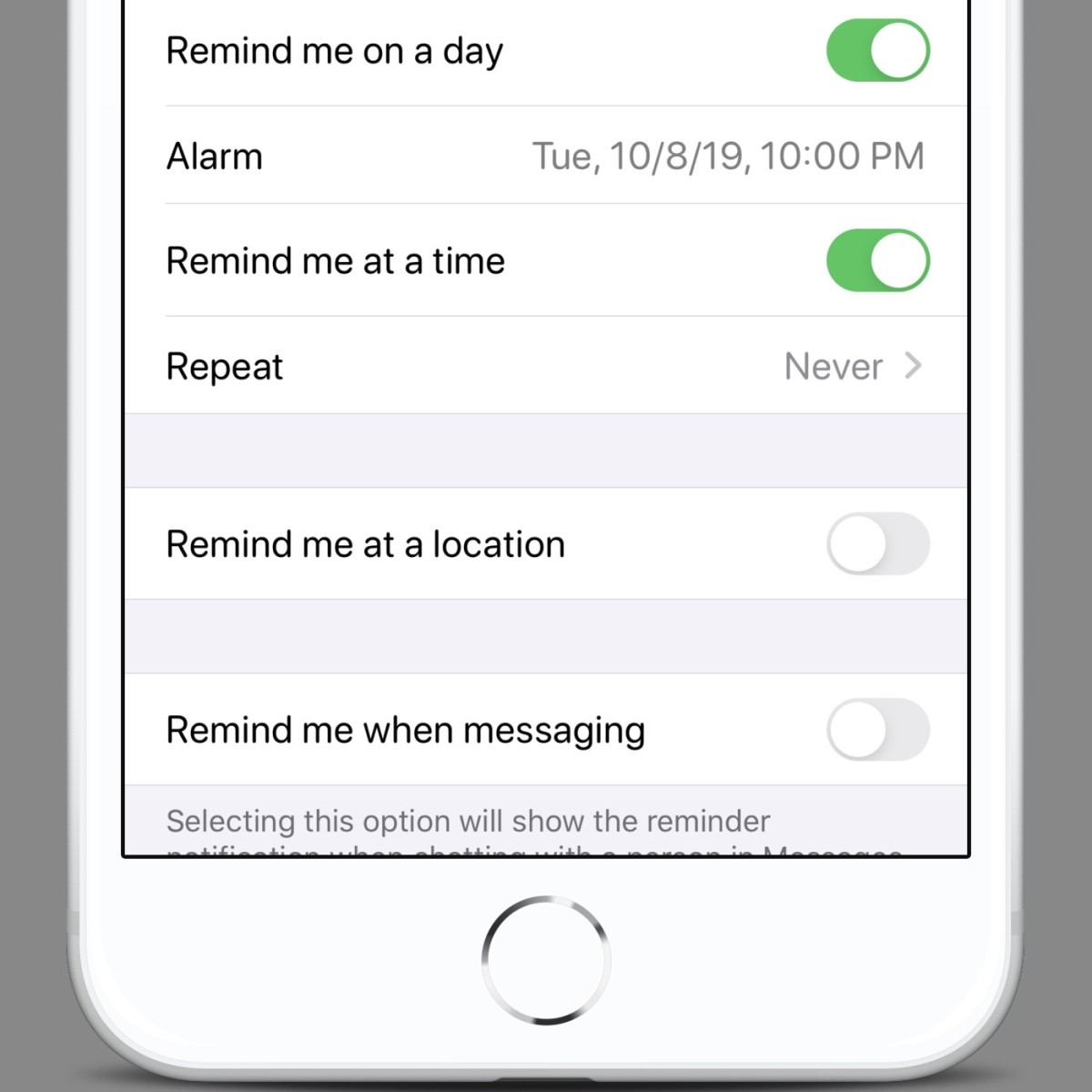 There are multiple levels of reminder options on iOS and MacOS