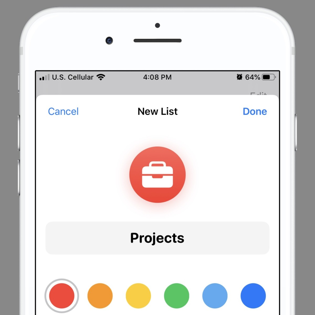 Creating a list on the iPhone Apple Reminders app