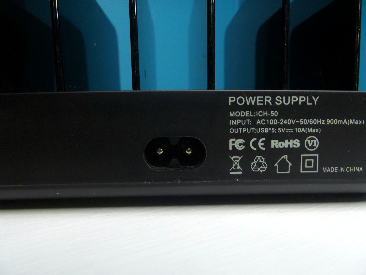 AC power input to Vogek Five Port Charging Station.