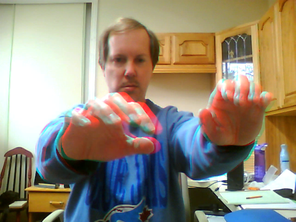 Red cyan 3D selfie with my hands coming out of the screen.