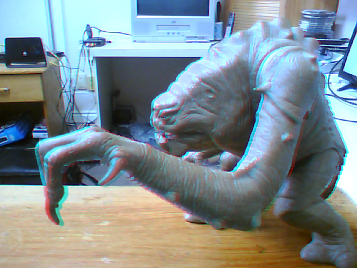 3D image of a Star Wars creature. Picture was taken with the webcam on my laptop.