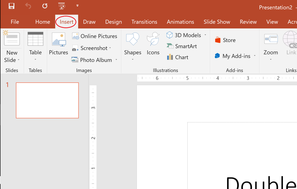The insert tab can be found near the top left corner of your screen in the ribbon.
