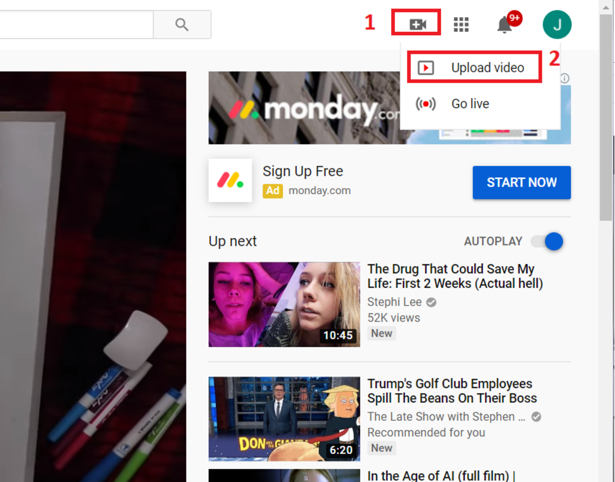 This screen shot of you tube highlights the selections that need to be made to upload a video.
