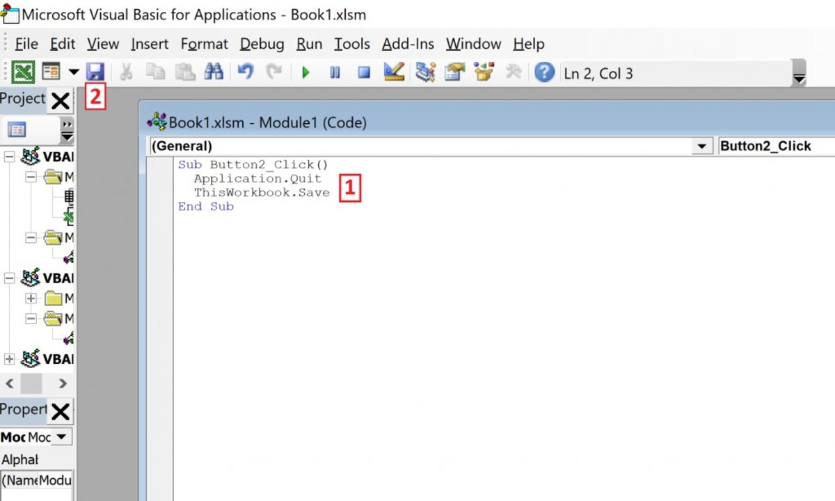 """Line one the of code """"Sub Button2_Click()"""" is intended to initiate the task. After the button gets clicked the second line """"Application.Quit"""" avoids a prompt because the line """"ThisWorkbook.Save"""" saves the workbook. The module ends with """"End Sub"""""""