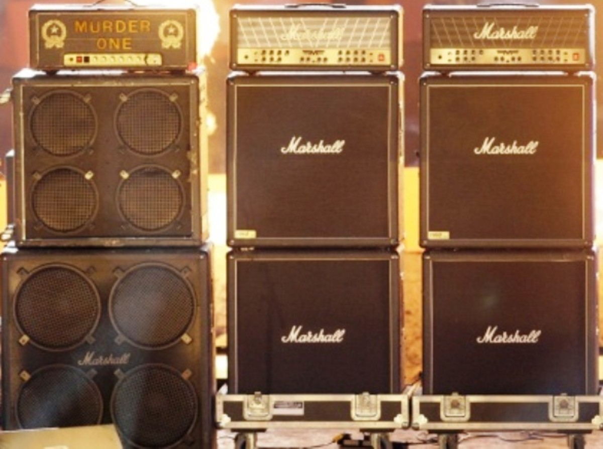 An assortment of amps and speakers (short for amplifiers and loudspeakers).