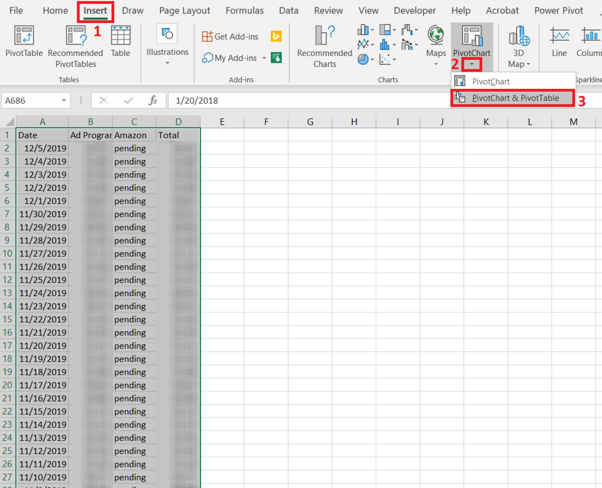 It's not mandatory to select the range of data to be used in the PivotTable in this step. This can wait until the create PivotTable window appears where the select a Table/Range option can be utilized.