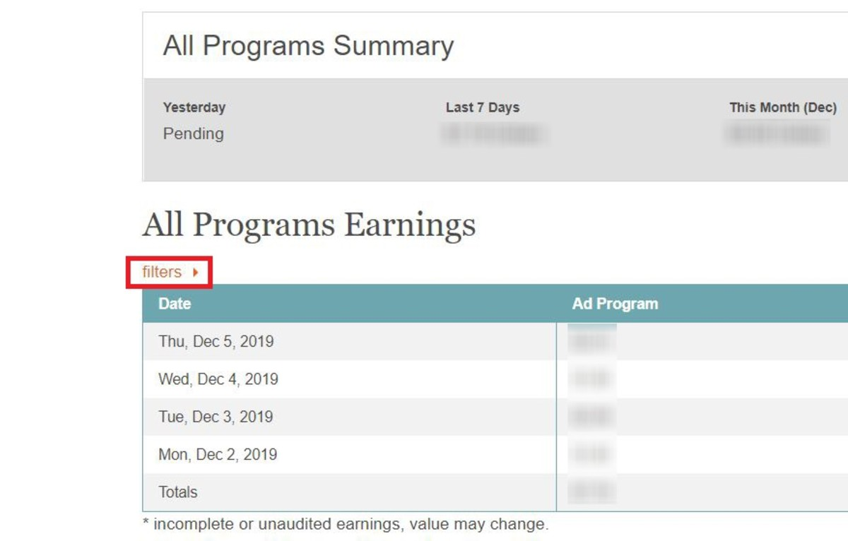 It's not immediately clear where your earnings report is located. Remember to click on the filter option to get access to a downloadable .csv file that holds all of your earnings data.