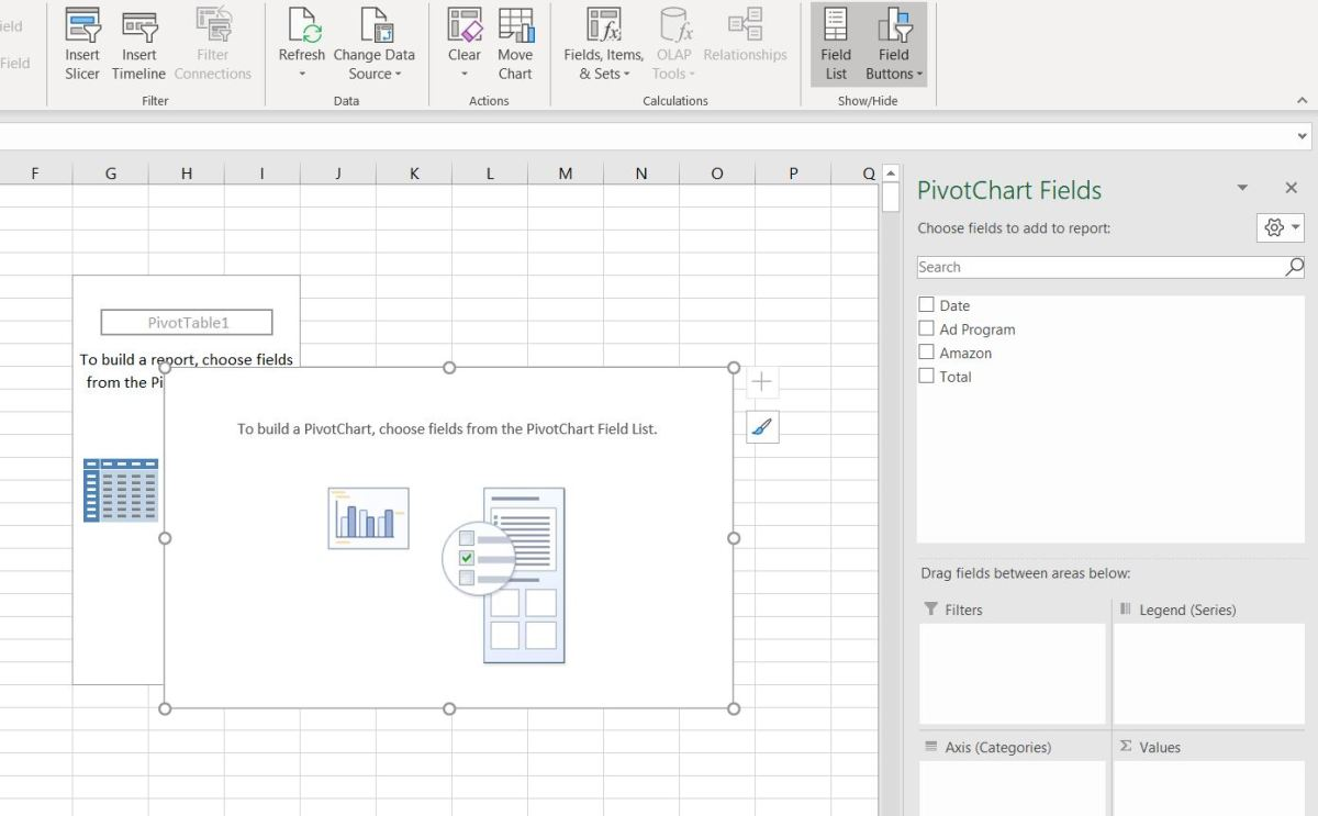 Here a PivotTable is displayed in it rawest form. It won't be until attributes are added to each axis until the table or graph form.