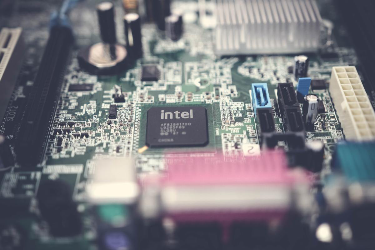 An Intel semiconductor chip.