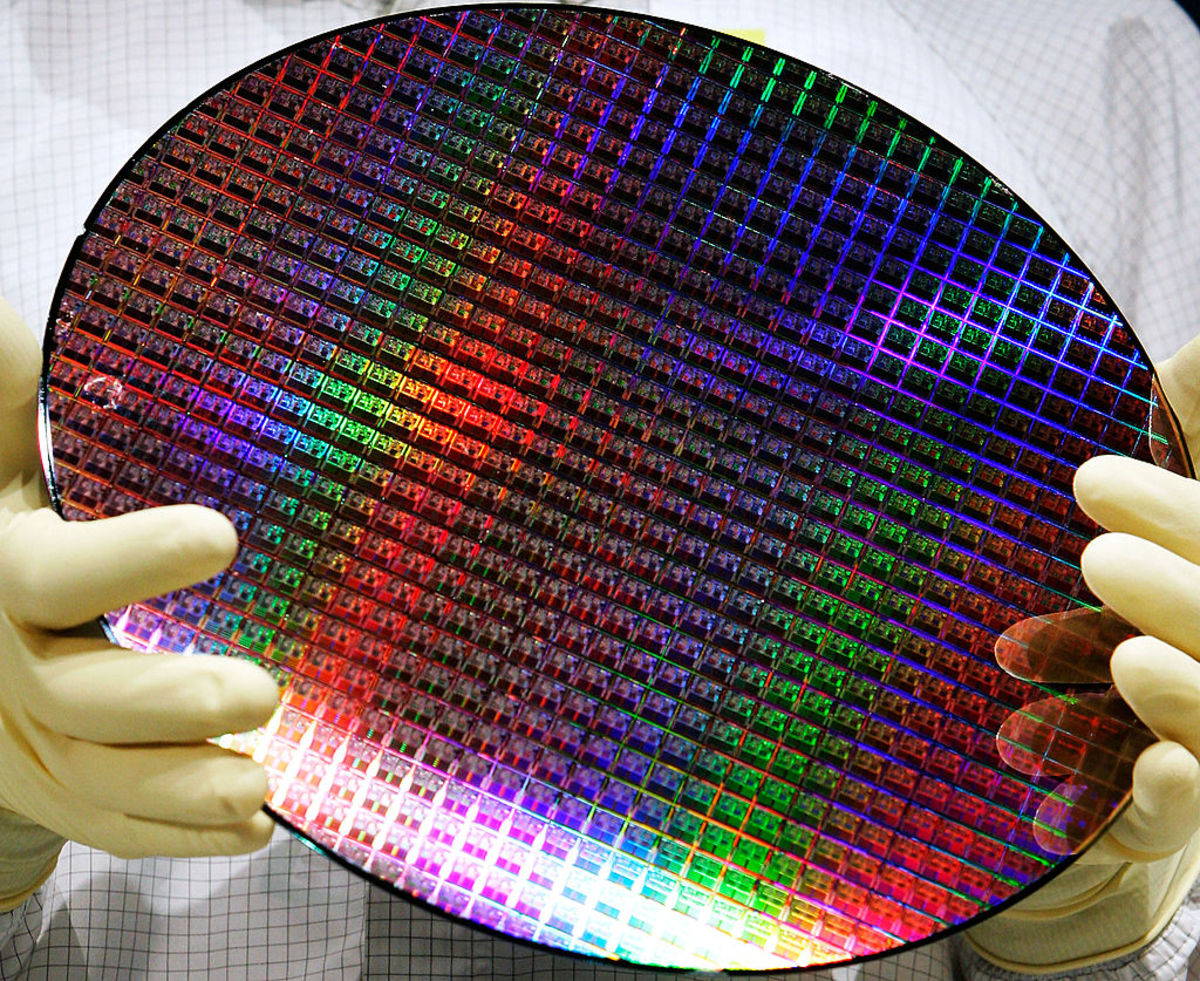 A completed silicon wafer.