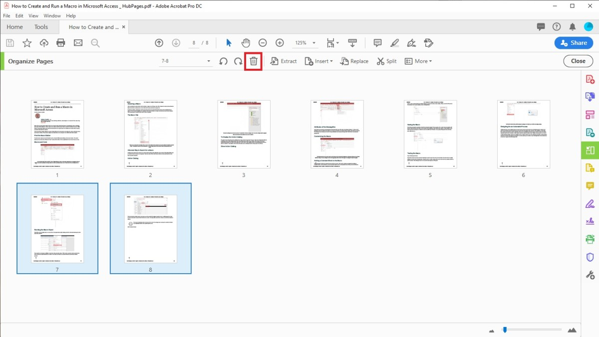 Pages can be deleted individually by selecting them and hovering over them. After the delete page option appears, click on it.