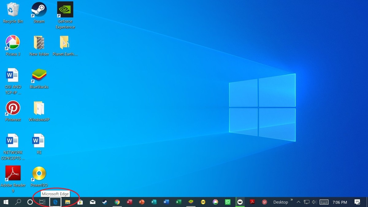 Tab key navigating the Taskbar
