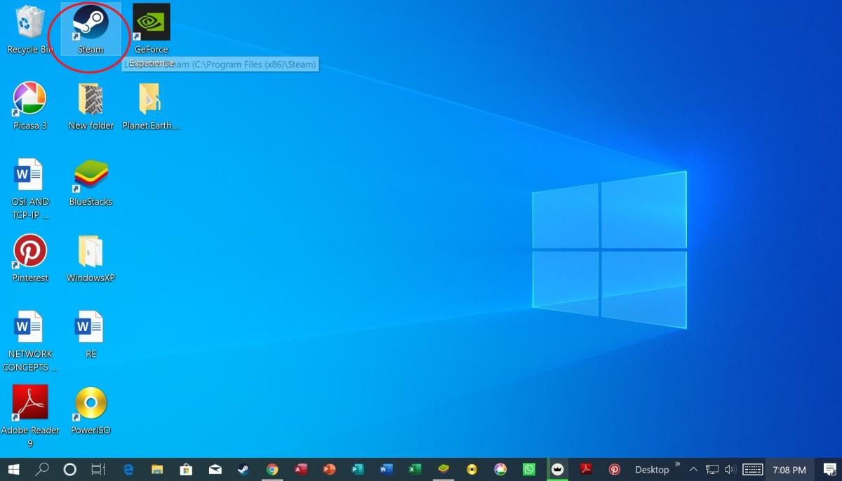 Tab key navigating the Desktop