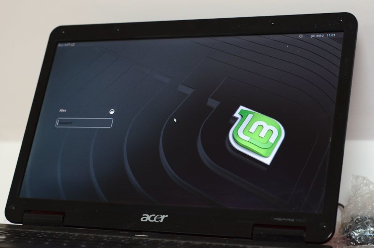 Old Windows 7 laptop revived with Linux Mint installed as new operating system.