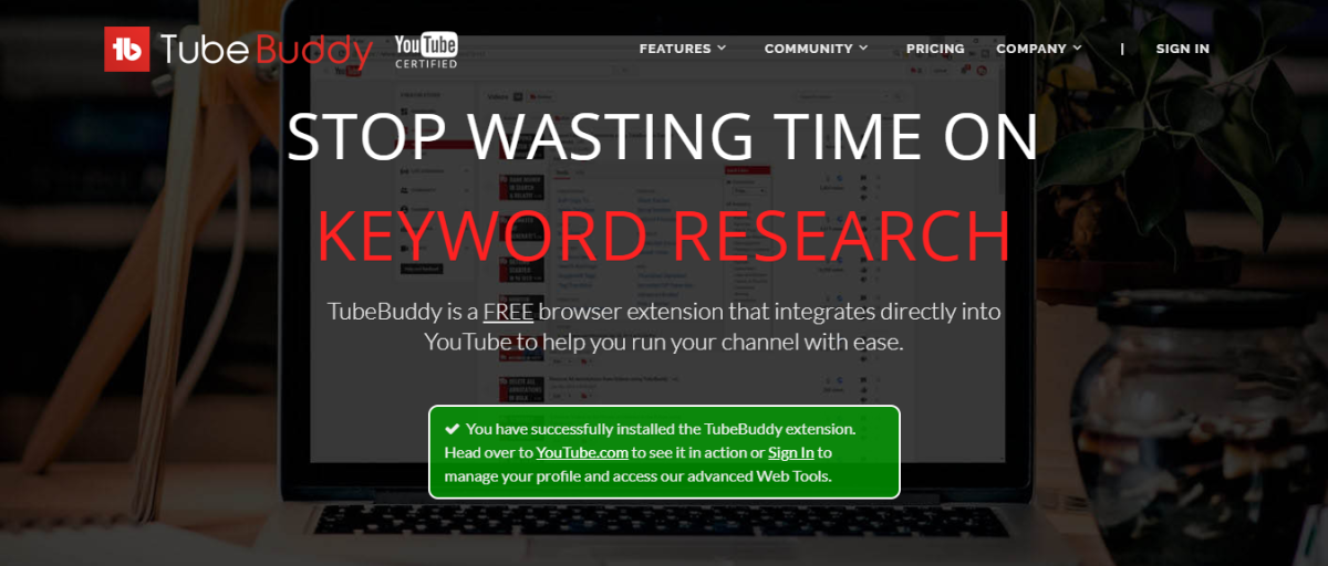 TubeBuddy's home page.