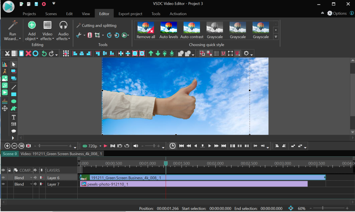 Notice that the main video file is one layer above the background image
