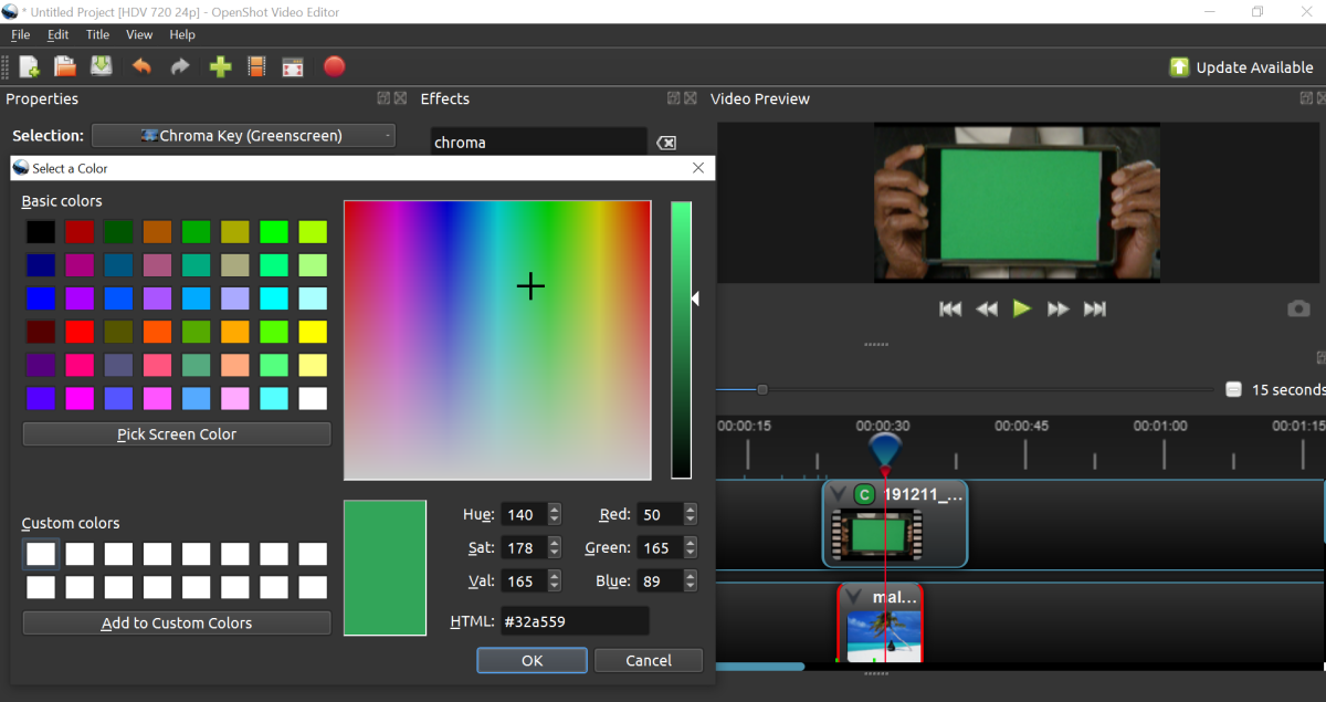 The color selection window helps the software identify the color that needs to be isolated and removed